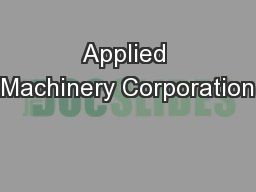 Applied Machinery Corporation