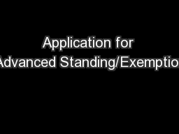 Application for Advanced Standing/Exemption
