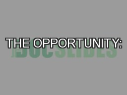 THE OPPORTUNITY: PowerPoint PPT Presentation