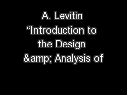 A. Levitin �Introduction to the Design & Analysis of