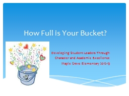 How Full is Your Bucket? PowerPoint PPT Presentation
