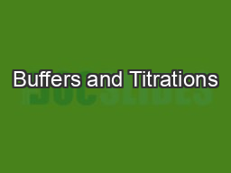Buffers and Titrations PowerPoint PPT Presentation