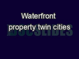 Waterfront property twin cities
