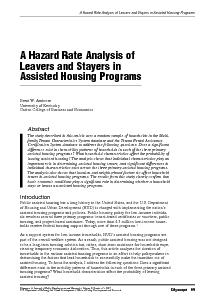 A Hazard Rate Analysis of Leavers and Stayers in Assisted Housing Prog