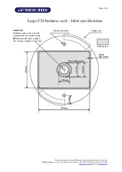 Page  of  Technical conditions Large CD business cardslabel specifications Revision  GZ Digital Media a