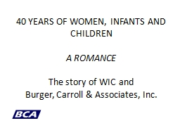 40 YEARS OF WOMEN, INFANTS AND CHILDREN