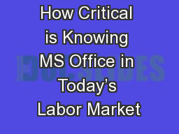 How Critical is Knowing MS Office in Today's Labor Market