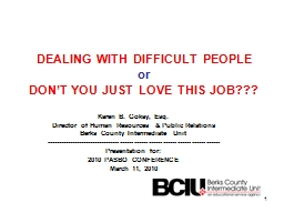 DEALING WITH DIFFICULT PEOPLE PowerPoint PPT Presentation