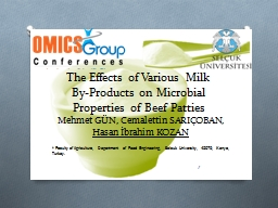 The Effects of Various Milk By-Products on Microbial Proper PowerPoint PPT Presentation
