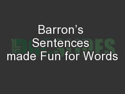 Barron�s Sentences made Fun for Words
