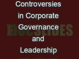 Topics Issues and Controversies in Corporate Governance and Leadership STANFORD