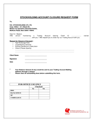 STOCKHOLDING ACCOUNT CLOSURE REQUEST FORM
