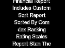 Life Insurer Financial Report Includes Custom Sort Report Sorted By Com dex Ranking Rating Scales Report Stan The A nnuity Man P