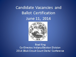 Candidate Vacancies and PowerPoint PPT Presentation
