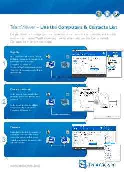 TeamViewer Use the Computers  Contacts List Do you want to manage your computers and contacts in a simple way and quickly connect with ease Well show you how to effectively use the computers  contact PDF document - DocSlides