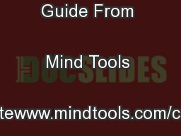 10-Minute Guide From Mind Tools Corporatewww.mindtools.com/corporate .
