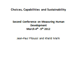 Choices, Capabilities and Sustainability