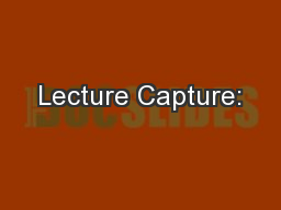 Lecture Capture: