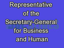 Special Representative of the Secretary-General for Business and Human