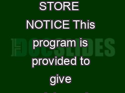 Sample Written Program For RETAIL STORE  NOTICE This program is provided to give assistance in developing a written safety program