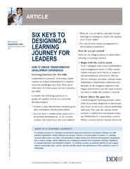 SIX KEYS TO DESIGNING A LEARNING JOURNEY FOR LEADERS