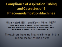 Compliance of Aspiration Tubing PowerPoint PPT Presentation