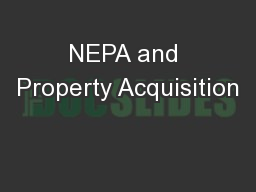 NEPA and Property Acquisition