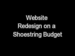 Website Redesign on a Shoestring Budget