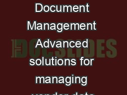 Vendor Document Management Advanced solutions for managing vendor data