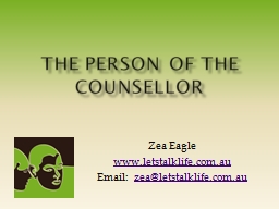 The Person of the Counsellor PowerPoint PPT Presentation