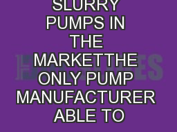 CHEMICAL SLURRY PUMPS IN THE MARKETTHE ONLY PUMP MANUFACTURER ABLE TO