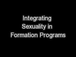 Integrating Sexuality in Formation Programs