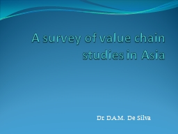 A survey of value chain studies in Asia