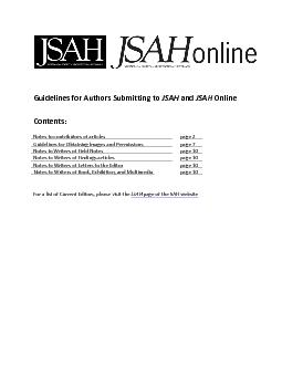 Guidelines for Authors Submitting to JSAH and JSAH OnlineContents: ...