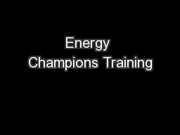 Energy Champions Training