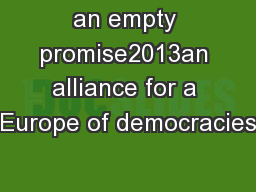 an empty promise2013an alliance for a Europe of democracies