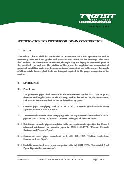 SP/SF2:000215 PIPE SUBSOIL DRAIN CONSTRUCTION Page 7 of 7 APPENDIX 1