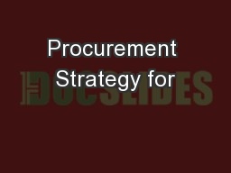 Procurement Strategy for