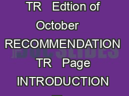 CEPT Radio Amateur Licence Nice  Paris  August  Nicosia  Recommendation TR   Edtion of October    RECOMMENDATION TR   Page INTRODUCTION The Recommendation as approved in  makes it possible for radio