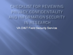 Checklist for reviewing Privacy, Confidentiality