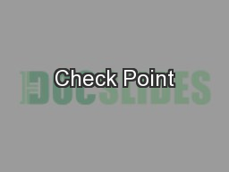 Check Point PowerPoint PPT Presentation