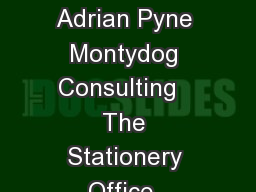 The Stationery Office  White Paper March  Transition into business as usual Adrian Pyne Montydog Consulting   The Stationery Office  Transition into business as usual Contents Introduction and backg