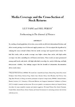 Media Coverage and the Cross-Section of ABSTRACT By reaching a broad p
