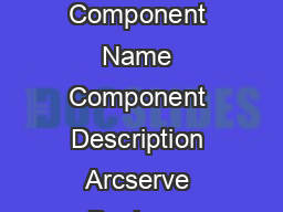 BASE Component Name Component Description Arcserve Backup r