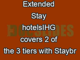 3 Tiers of Extended Stay hotelsIHG covers 2 of the 3 tiers with Staybr