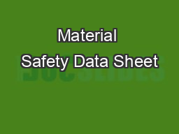 Material Safety Data Sheet PDF document - DocSlides