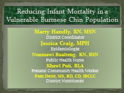 Reducing Infant Mortality in a Vulnerable Burmese Chin Popu