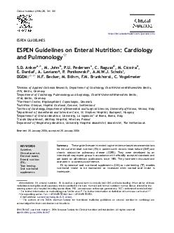 Clinical Nutrition      ESPEN GUIDELINES ESPEN Guidelines on Enteral Nutrition Cardiology and Pulmonology S