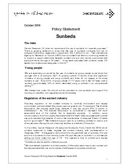 Cancer Research UK Policy Statement Sunbeds October 2009 Sunbeds can a