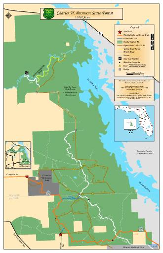 Seminole Ranch Conservation Area Orlando Wetlands Park Closed  to annually Clonts Conservation Easement Chuluota Wilderness Area For additional information on Charles Bronson State Forest please cont